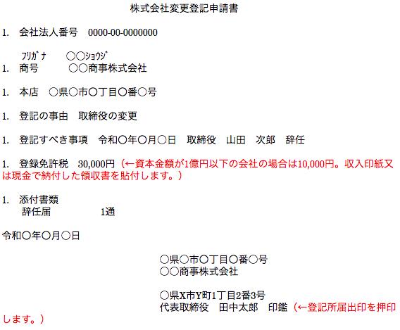 株式会社変更登記申請書の作成例(辞任による退任)