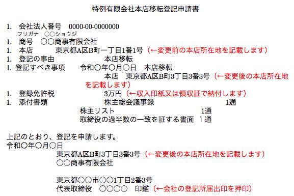 特例有限会社本店移転登記申請書の作成例(管轄区域内)