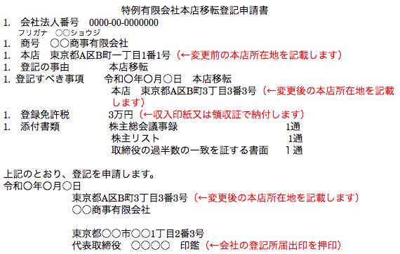 特例有限会社本店移転登記申請書の作成例(管轄区域外)1