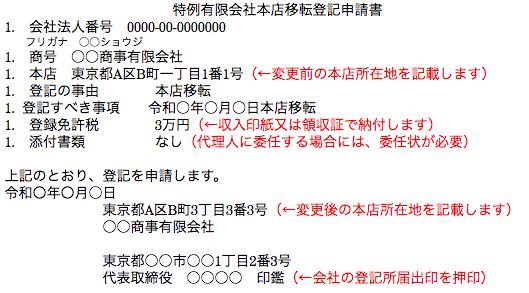 特例有限会社本店移転登記申請書の作成例(管轄区域外)2