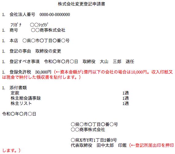 株式会社変更登記申請書の作成例(任期満了による退任)