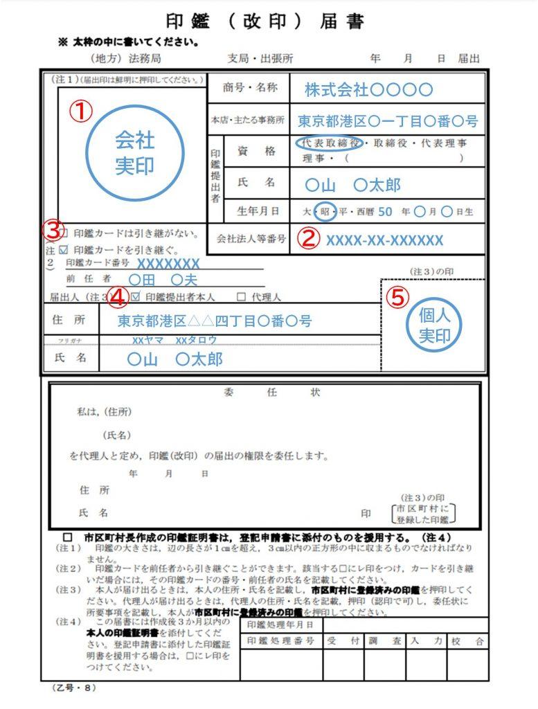 改印届書の記入例(会社代表者が提出する場合)