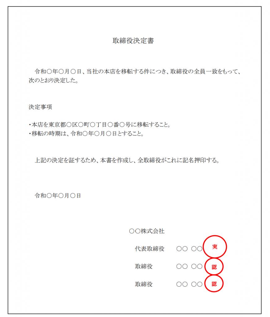 取締役決定書の作成例