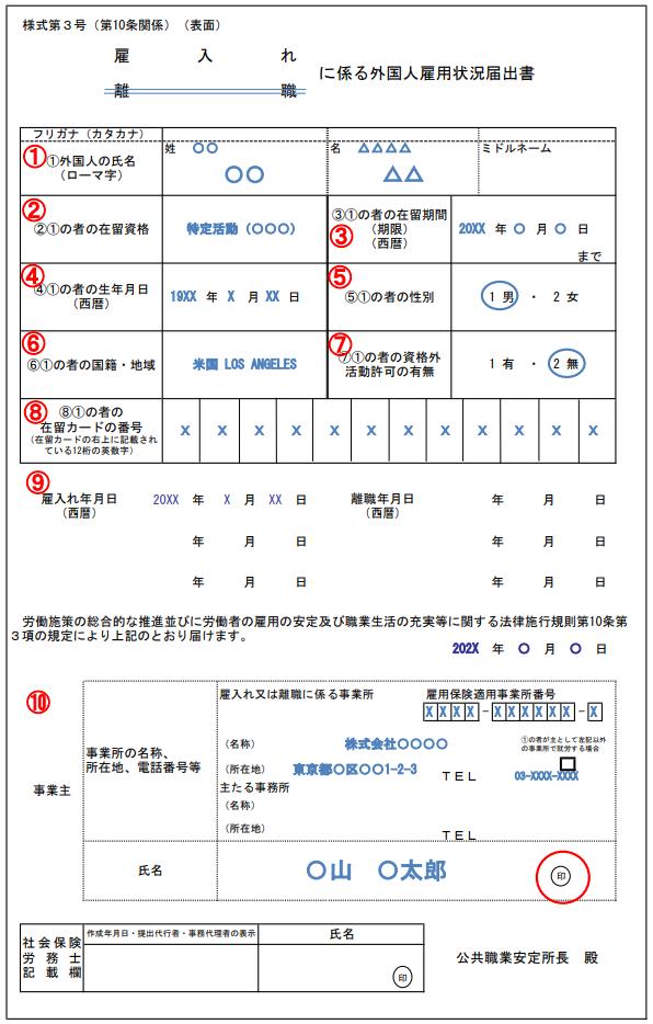 外国人雇用状況届出書の記入例