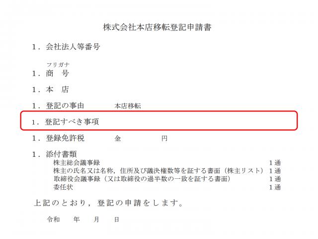 株式会社本店移転登記申請書「登記すべき事項」の説明画像