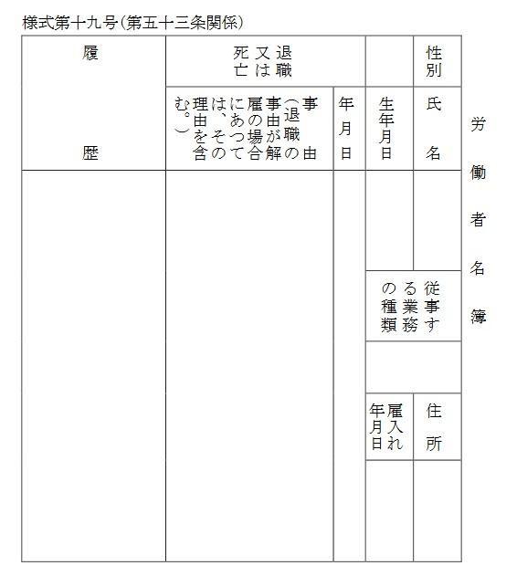労働者名簿の様式画像